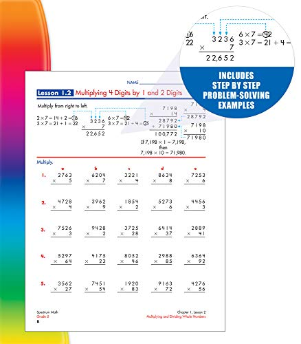 Spectrum 5th Grade Math Workbook—Multiplication and Division, Decimals, Fractions, Early Algebra Practice With Examples, Tests, Answer Key for Homeschool or Classroom (160 pgs)