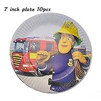 バルーン 誕生日消防士パーティーラテックス風船の風船子供のおいしいパーティーギフトカーの消防車バルーン消防士パーティー用品 (Color : 7 inch plate 10pcs)