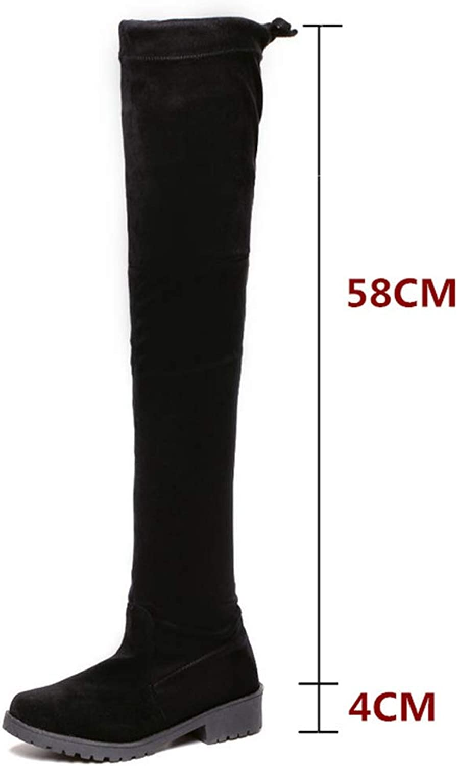 Hoxekle Woman Over The Knee Boots Lace up Slip On Anti-Slip Round Toe Low Heel Anti-Slip Winter Female Sexy Long Boot