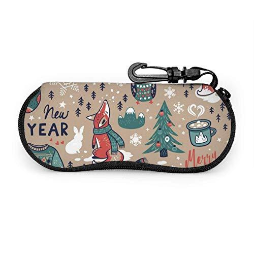 Estuche para gafas Estuche para gafas Estuche para gafas de neopreno ultraligero con cremallera y mosquetón Calentadores de invierno y adornos navideños personalizados
