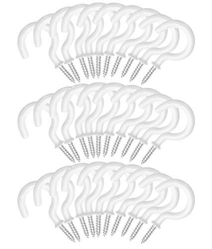Deckenhaken Schraubhaken Tasse Haken Decken Cup Haken Weiß Vinyl Beschichtet Haken für Tassen Pflanzen Werkzeuge, 30 Stück