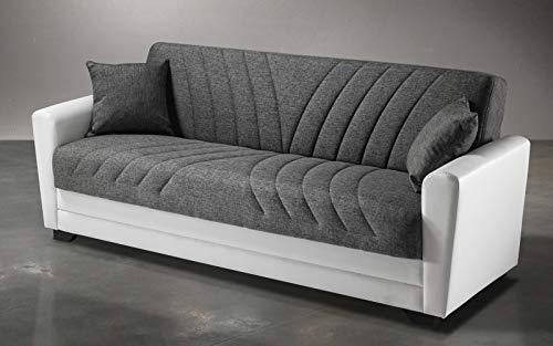Sofá de 3 plazas blanco y gris de piel sintética y tela – 220 x 88 x 83 cm de altura – Compartimento contenedor, transformable en cama de plaza y media