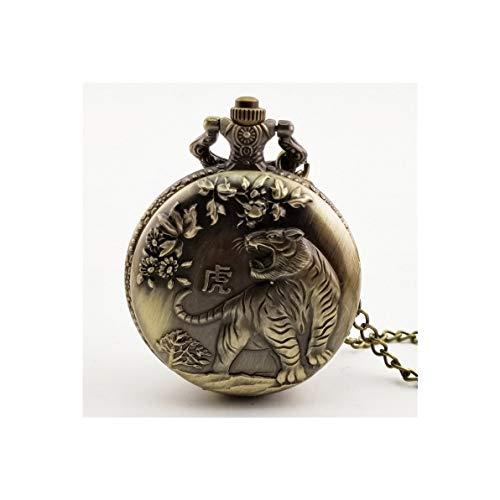 FGH QPLKKMOI Weinlese-Taschen-Uhr, Tierkreis-Quarz-Taschen-Uhr-arabische Ziffern Taschen-Uhr mit, Halsketten-Anhänger-Uhr for (Color : Tiger)