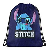 Etryrt Mochila de Cuerda Bolsas de Gimnasia Stitch with Glasses Gym Backpack Shoulder Bags Sport Storage Bag for Man Women