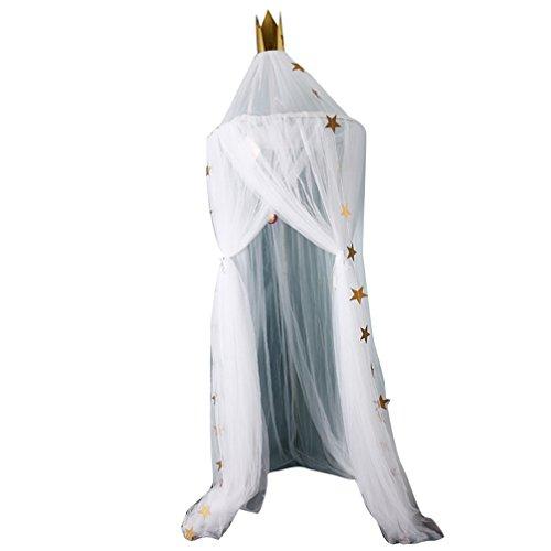 JEELINBORE Tüll Deko Betthimmel Bettvorhang für Kinder/Babys, Moskitonetze Baldachin Hängende Moskiton für Schlafzimmer Ankleidezimmer (#2 Weiß, Durchmesser: 60cm)
