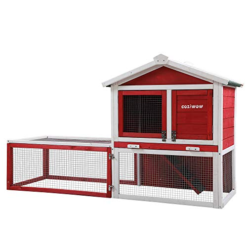 """COZIWOW 61""""X23.6""""X36"""" Indoor Outdoor Wooden Large Small Animal Hutch,Pets Crate House for Rabbit Bunny Cage Dog..."""