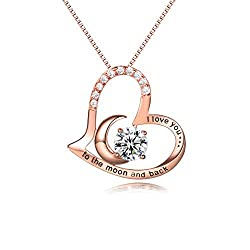 Neklace Material: 925 sterling silver,rose gold plated,AAAAA cubic zirconia,S925 stamped. Necklace Size: pendant size 23*22mm, 45+5cm box chain. PREMIUM DESIGN: Heart shape is eternal fashion. Classic 4 Prongs Set Style helps CZ standing firmly and u...