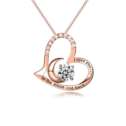 PRETTERY Rose Gold Necklace I Love You to The Moon and Back Zirconia Heart Pendant Gifts for Women,18' Chain