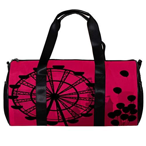 Runde Sporttasche mit abnehmbarem Schultergurt, Riesenrad mit Luftballons, Silhouette Training Handtasche über Nacht für Damen und Herren
