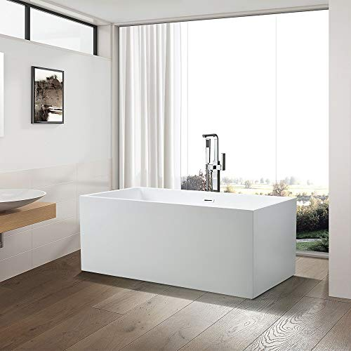 Vanity Art 59-Inch Freestanding Acrylic Bathtub | Modern Stand Alone Soaking Tub with Chrome Finish, UPC Certified, Slotted Overflow & Pop-up Drain - VA6813B-S