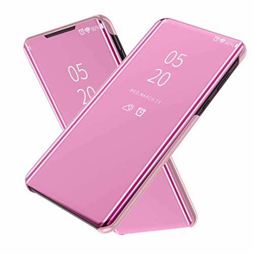 FTRONGRT Coque pour Oppo A54, Flip Cover,Etui de téléphone Miroir Semi-Transparent,Etui Housse Case pour Oppo A54-Or Rose