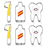 6Pcs Tooth Brush/Toothpaste/Teeth Cute Stainless Steel Cookie Cutter Fondant Cutter Baby Kids First Tooth Party Decorations Supplies Dentist Birthday Gift