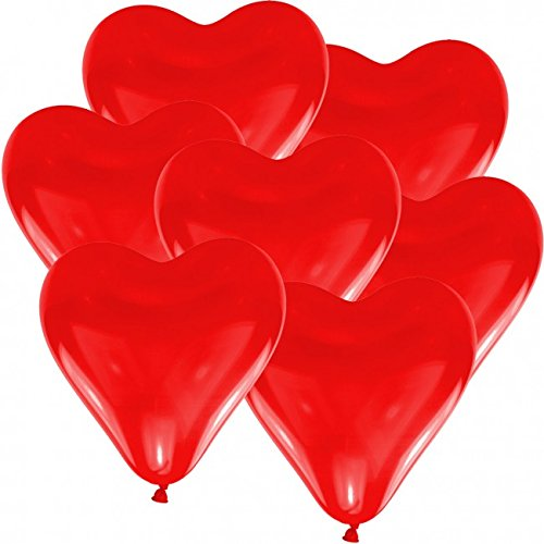 10 Herz Luftballons Ø 30 cm Farbe frei wählbar Herzballons Helium Luftballon (Rot)