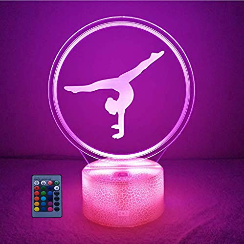 Creative Artistic Gymnastics 3D Night Light USB Powered Touch Switch Remote Control LED Decor Optical Illusion 3D Lamp 7/16 Colors Changing Brithday Children Kids Toy Christmas Xmas Gift