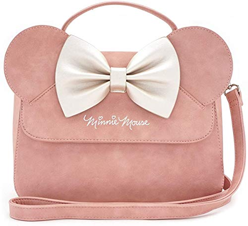 Loungefly x Disney Minnie Mouse Crossbody Bag with Ears and Bow (One Size), Pink-white