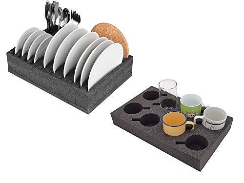 Set de camping: Soporte para tazas de cristal con espacio para hasta 8 unidades / soporte de espuma para platos y cubiertos - Muy ligero y robusto - Para campamentos, caravanas y barcos