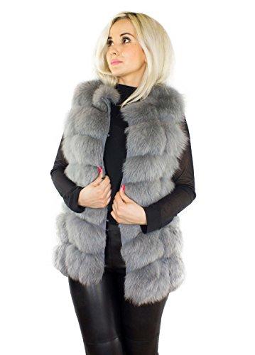 Unbekannt Pelweste Echtfell Echtpelz Weste grau aus Pelz echtes Fell Damen Mode