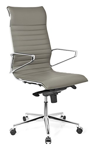 hjh OFFICE 720025 Profi Chefsessel PARIBA I Leder Grau Design-Stuhl Bürostuhl ergonomisch geformt, hohe Rückenlehne