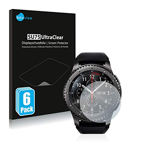 Savvies 6X Schutzfolie kompatibel mit Samsung Gear S3 Frontier / S3 Classic Bildschirmschutz-Folie Ultra-transparent