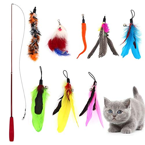 aponts Cat Feather Toys, 9 pcs Retractable Cat Toys Set, Interactive Feather Teaser WandBirds Worms & Funny Mice Cat Fishing Pole Toy for Indoor Kitty Old Cat Exercise