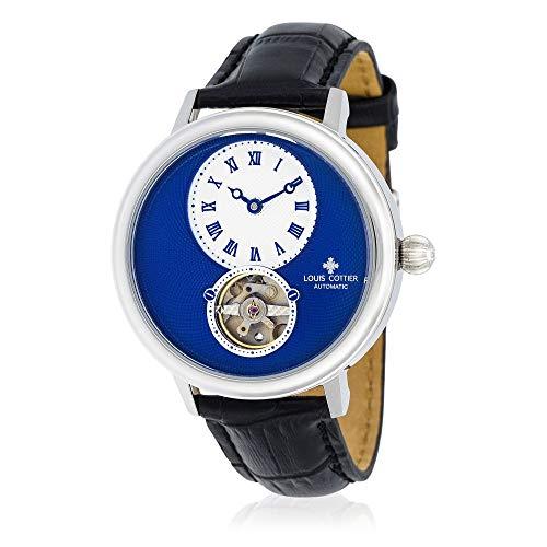 Louis Cottier, orologio automatico da uomo, 43 mm, quadrante blu, cinturino in pelle nera, HB34330C4BC1