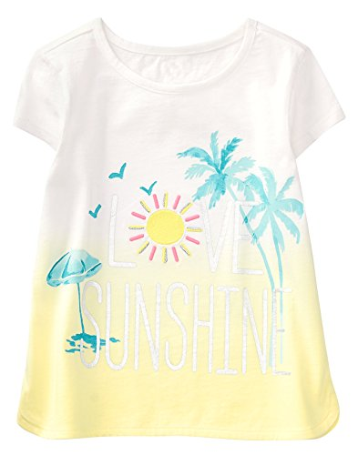 Gymboree Girls' Little Short Sleeve Graphic Tee, White on Beach time, S
