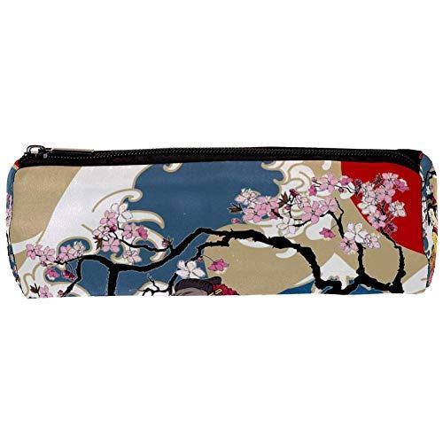TIZORAX Traditionele Japanse Wave Vrouwen in Kimono met Kersen Boom Potlood Case Pen Rits Tas Coin Organizer Make-up Kostuumzak voor Vrouwen Tiener Meisjes Jongens Kids