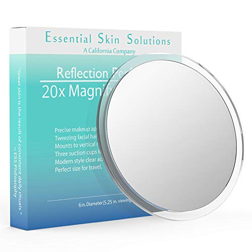 20x Magnifying Mirror with Suction Cups – 6 Inch - Use for Makeup Mirror - Tweezing - Blackhead and Blemish Removal – Contacts – Perfect for Home & Travel – 5.25 in Viewing Area
