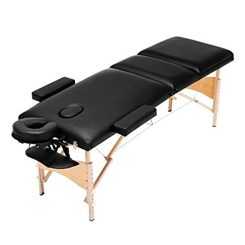 Uenjoy Massageliege Mobile Massagebett Tragbare Massagetisch 3 Zone Höhenverstellbare Massagebank mit KostenlosenTragetasche für SPA, Tattoo, Therapie Bett,Schwarz