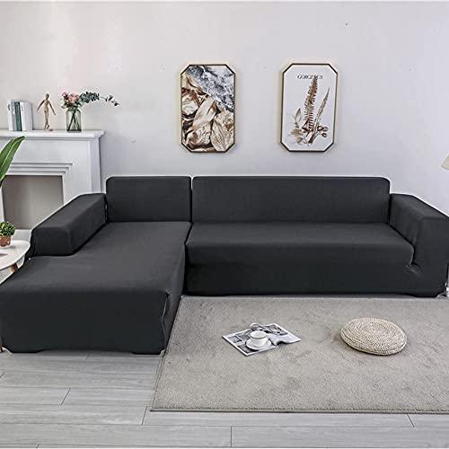 Surwin Funda Elástica para Sofá de 1/2/3/4 Plazas, Color sólido Impresión Universal Cubierta de Sofá Cubre Sofá Antideslizante Lavable Sofa Couch Cover Protector (1 Plaza - 90-140cm,Negro)