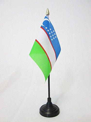 AZ FLAG TISCHFLAGGE USBEKISTAN 15x10cm goldene splitze - USBEKISCHE TISCHFAHNE 10 x 15 cm - flaggen
