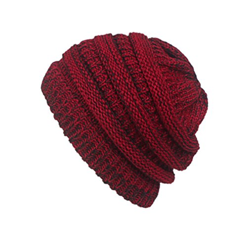 Bigood Femme Bonnet Fil Couleur Uni Doux Chapeau Vogue Chaud Tricot Noir Rouge