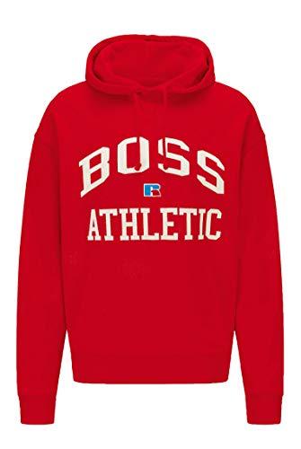 BOSS Sudadera con capucha para hombre Safa RA de algodón orgánico con logotipo exclusivo rojo L