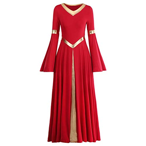 Praise Dance Dresses for Women Vintage Pagoda Sleeve Long Maxi Dress Casual Long Sleeve Prom Ball Gown Wedding Party Dresses Performance Modern Dance Hanukkah Outfit Church Robe Praisewear Red+Gold M