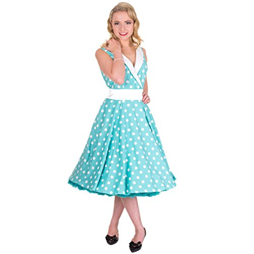 Banned mouwloze dames retro jurk gestippeld blauw/wit - Rockabilly 50s jurk goed times polka dots mint