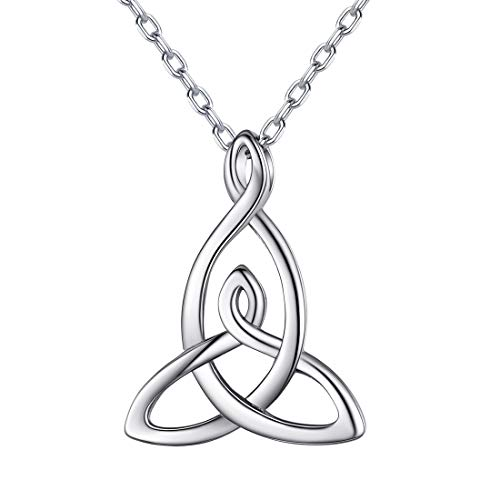 ChicSilver Celtic Motherhood Knot Necklace 925 Sterling Silver Triquetra Trinity Vintage Triangle Pendant Necklace Irish Good Luck Jewelry for Women Girls