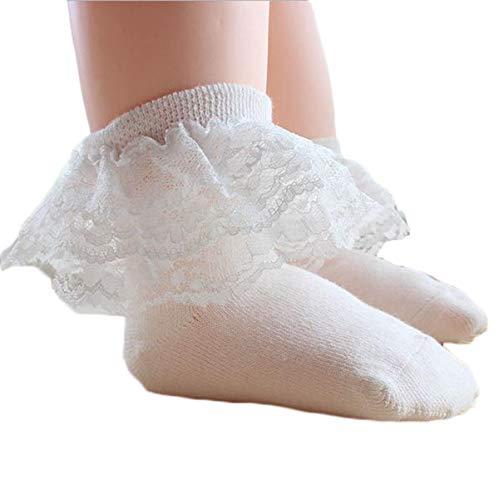 Eghunooye Baby Mädchen 100% Baumwolle Socken mit Spitze Cute Taufe Socken Weiches und Soft Material (Weiß, 2-4Jahren(S))