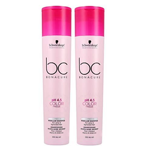 2er pH 4.5 Color Freeze Silver Micellar Shampoo Bonacure Schwarzkopf Professional für graues und helles Haar 250 ml