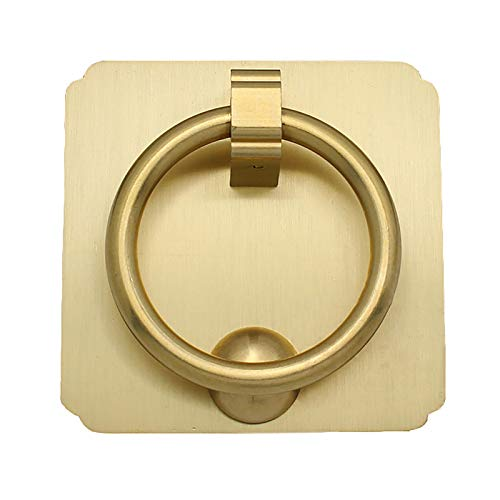 HWLL Door Knockers Brass Color Door Knocker Ring for Any Door & Furniture Accessories Decor, Easy to Install, Simple and Light, Artisan Made (Size : 8×8cm)