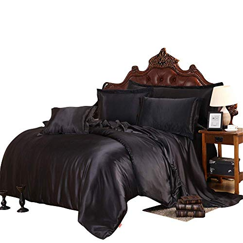 Best Bedding Luxurious Ultra Soft Silky Satin 4 Piece (1 Flat Sheet + 1 Fitted Sheet + 2 Pillow Cases) Comfortable Bed Sheet Set with 9 inches Deep Pocket, Black, Full
