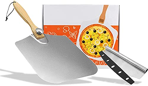 Aluminum Pizza Peel 12x14 Inch Pizza Rocker Cutter, Pizza Spatula Paddle Turning Peel with Foldable Wood Handle for Safe Indoor and Outdoor Pizza Oven Baking