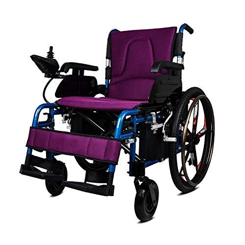 GNLIAN HUAHUA Silla de Ruedas eléctrica Filipinas Precio Power Motor Remoto Reclinable RECLINIZADO Silla de Ruedas al Aire Libre (Color : Purple)