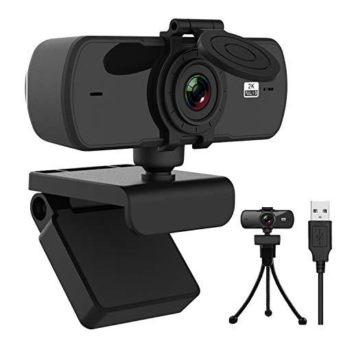 2k Webcam per PC con Microfono,Full HD 1440P Webcam per PC/ Desktop/ Laptop/ TV Videocamera, USB Plug and Play per Lezioni, Lavoro Online, Conferenze, Registrazioni, Con treppiede e copriobiettivo