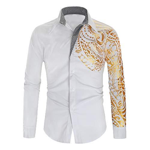 FONMA Men's Autumn Winter Casual Blouse Collar Button Shirts Print Long Sleeve Top White