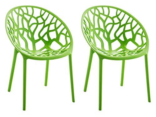 CLP 2er-Set Gartenstuhl Hope Aus Kunststoff I 2 x Wetterbeständiger Stapelstuhl Mit max. 150 KG Belastbarkeit, Farbe:grün