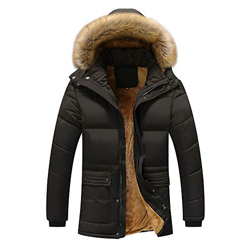 Sumen Winter Clothing Men's Thicken Warm Faux Fur Hood Down Jackets Parka Coats Black