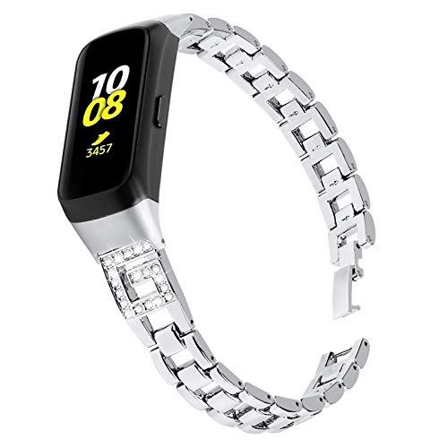 MVRYCE Armband für Galaxy Fit SM-R370, Verstellbare Edelstahlbänder mit Bling Strass Slim Damenschmuck Ersatz Armband Atmungsaktives Fitnessband Kompatibel für Samsung Galaxy Fit SM-R370 (Silber)