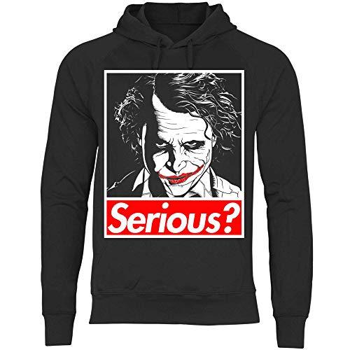 wowshirt Herren Hoodie Why So Serious Joker Face Serienjunkie Film Halloween Bösewicht, Größe:S, Farbe:Black