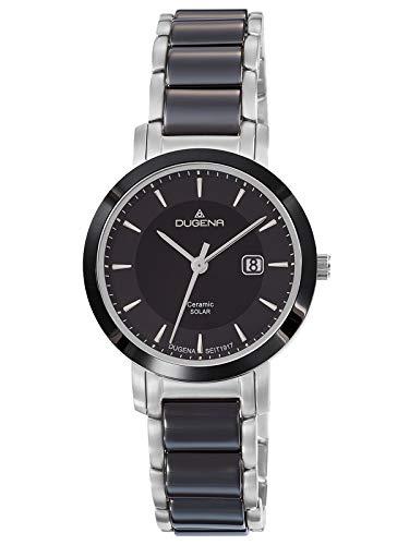 Dugena Damen Solar Armbanduhr Edelstahl Keramik Silberfarben/Schwarz 4461007