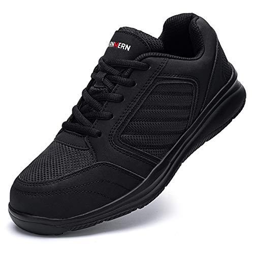 Ziboyue Sicherheitsschuhe Herren Damen wasserdichte Leicht Arbeitsschuhe S3 Atmungsaktiv Sportlich mit Stahlkappe Schuhe (Klassisch schwarz,43 EU)
